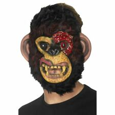 ZOMBIE CHIMP MONKEY MASK WITH FUR HALLOWEEN PARTY COSTUME ACCESSORY HORROR NEW