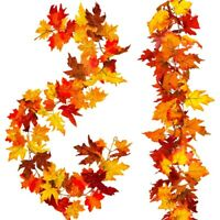 2 Pcs Artificial Autumn Maple Leaves Garland, Fall Hanging Plant for Home G E3N9