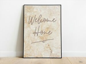 Beige Stone Effect Welcome Home Wall Print A3/A4/A5 Posters Gift Idea