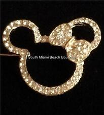 Minnie Mickey Mouse Ears Pin Brooch Disney Crystal Rose Gold Plated USA Seller