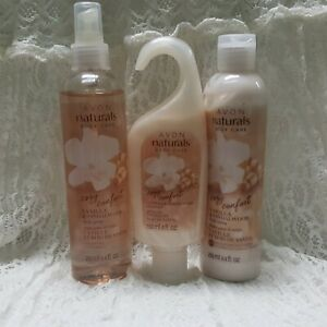 AVON Set of 3 COZY VANILLA SANDALWOOD - Body Wash - Perfume Spray - Lotion New