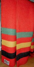 Vintage Large Red ORRLASKAN 3 Stripes Wool Blanket 88x72 Orr Felt Co.