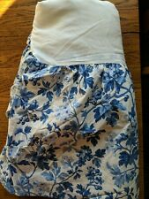 "LAURA ASHLEY Full/Queen Bed Skirt Blue White Floral Print 14"" Drop Vintage"