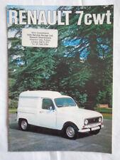Renault 7 cwt range brochure Jul 1975 small format