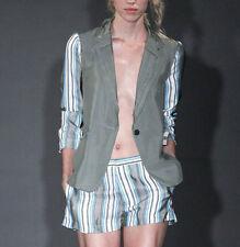 TODD LYNN $1,869 raw edge khaki green blazer striped sleeve Zimbu jacket 42 NEW