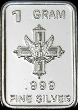 USA 1gr .999 Fine Silver Art Bar  'Cross & Eagle'  - UNCIRCULATED