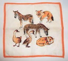 Vintage Children's Handkerchief Animals ZEBRA COYOTE GEESE Kids 9x9