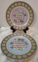 """At Home With Mary Engelbreit Set Of 2 Garden Breit 8"""" Dessert Plates"""