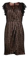 Ex A Wear Black Beige Draped Laced Evening Shift Dress Size 6 8 10 12 14 18