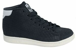 Adidas Originals Stan Smith Mid Womens Lace Up Black Leather Trainers BB4863 M15
