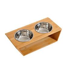 Pawhut Pet Feeder TWIN DISH DOPPIO 2 ciotole per cani in bambù Sollevata Acciaio Inox