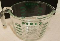 Vintage Pyrex Glass 1 Quart 4 Cup Measuring Cup Bowl Clear Green Made in USA