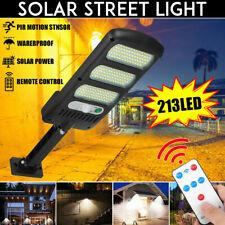 213LED Outdoor Solar Street Wall Light PIR Motion Sensor LED Lamp Remote Control