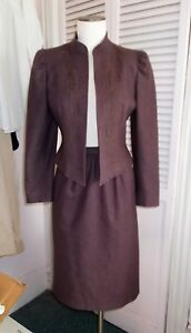 J GALLERY VINTAGE 1980s MAROON WOOL BLEND FULLY LINED 2 PIECE SUIT SIZE 8/9