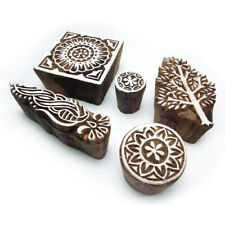 Indian Tree and Floral Motif Wood Print Stamps (Set of 5)