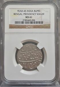 India - British , Bengal presidency Rupee, Year 45 KM 69 , NGC MS61