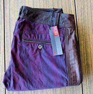 Diesel Women's Runway Purple Cotton & Brown Leather Pants Sz 28x36 NWT