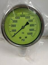 """UPS703-U 4"""" Glycerin Fill All SS Gauge 1/2""""NPT 10Kpsi  Fluorescent dial GL lens"""