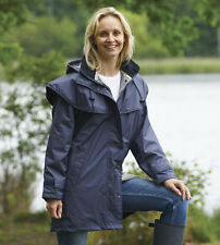 Ladies County Estate Waterproof Cape Coat Rain Jacket Casual Walking Equestrian Navy 8