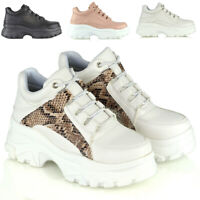 Womens Chunky Platform Trainers Ladies Lace Up Sneakers Retro Rock Shoes 3-8