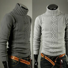 US Winter Men Slim Warm Knitted Pullover Jumper Sweater Turtleneck Solid Slim