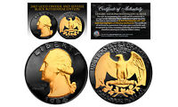 Black RUTHENIUM 2-Sided 1964 US Genuine Silver Quarter Coin w/ Genuine 24KT Gold