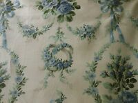 Antique French Garland Ribbons Roses Cotton Fabric ~ unused ~ Blue Green