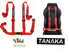 Tanaka (TA-BU4RD) 4 Point Buckle Universal Auto Racing Seat Belt Harness (Red)