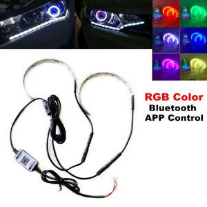 Car RGB LED Demon Eye Bluetooth Phone APP Control Halo Ring Headlight Projector