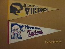 NFL MLB Minnesota Vikings Vintage 1970's 2 Bar & Twins Vintage 1970's Pennants
