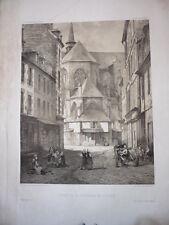 GRAVURE CHEVET DE LA CATHEDRALE DE ST BRIEUC 19eme SIECLE BRETAGNE