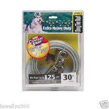 PDQ 30' Cable Tie Out w/ Swivel Leash Hook Dogs up to 125lbs