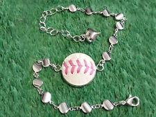 Pink Baseball Charm Bracelet Made From a Real Baseball With Pink Stitches