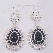 "Amazing New 2.5"" Long Shiny Silver & Black Dangling Bling Earrings #E1162"