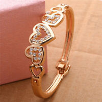 Fashion Women Lady Gold Plated Crystal Cuff Bangle Love Heart Charm Bracelet New