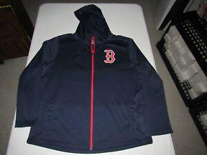 BOSTON RED SOX MEN'S FANATICS BLUE RED TRIM ZIP UP HOODED SWEATSHIRT SIZE 2XL