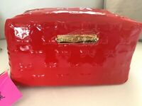 Betsey Johnson Red Patent-Leather Bow Cosmetic Bag Large Makeup Travel Case