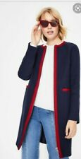 Womens Boden Edie Textured Long Blue Coat Red Trim Size 8