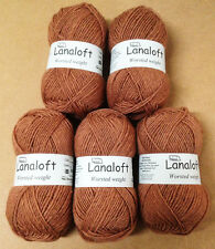 Brown Sheep Knitting Crochet Lanaloft Worsted Wool 5 Skeins Subtle Spice