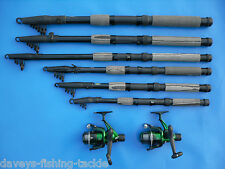 2 CARBON 10ft TELESCOPIC RODS+SOL REELS SEA FLOAT FEEDER MATCH FISHING SPINNING