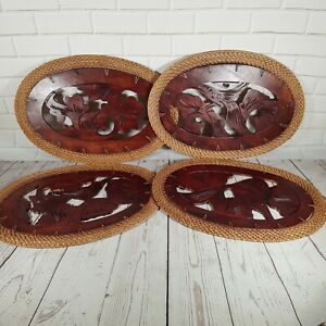 Vintage Wood Placemats Table Mats set of 4 Carved Wood Wicker Animal Balinese
