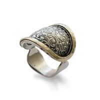925 Sterling Silver Gold Vintage Ring Oxidized  Floral Leaf Design Handmade 21mm