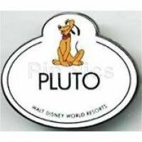 Old LE RARE Disney pin Cast Member Pluto Nametag Badge Walt Disney World Resorts
