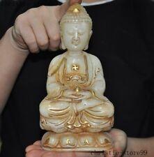 """8""""Old Tibet White jade Gilt Carved Sakyamuni Shakyamuni Medicine Buddha statue"""