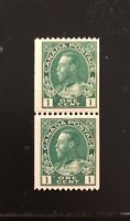 Stamps Canada SC131 i   1c dark green KGV Admiral MNH coil pair see detail