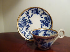 Rare Antique Cauldon England Flow Blue Demitasse Cup and underplate