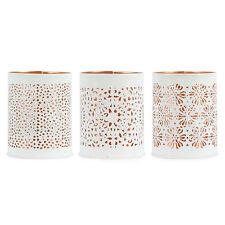 Teelichthalter Set 3 tlg. Metall Ø 8 cm Weiß Kupferfarben / Windlicht