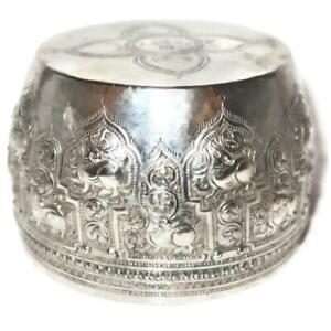"""Antique Inscribed Burmese Myanmar Lions Monk Thabeik Repoussé Silver Bowl 4 1/4"""""""