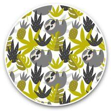 2 x Vinyl Stickers 30cm - Green Sloth Pattern Sloths Animals  #45233