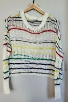 NWT Dex Womens Small White with Stripes See Through Crop Sweater